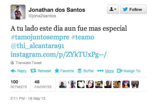 Jonathan Dos Santos-twitter- gay- #teamo-Tiago  Alcántara-Popquerías - Fútbol